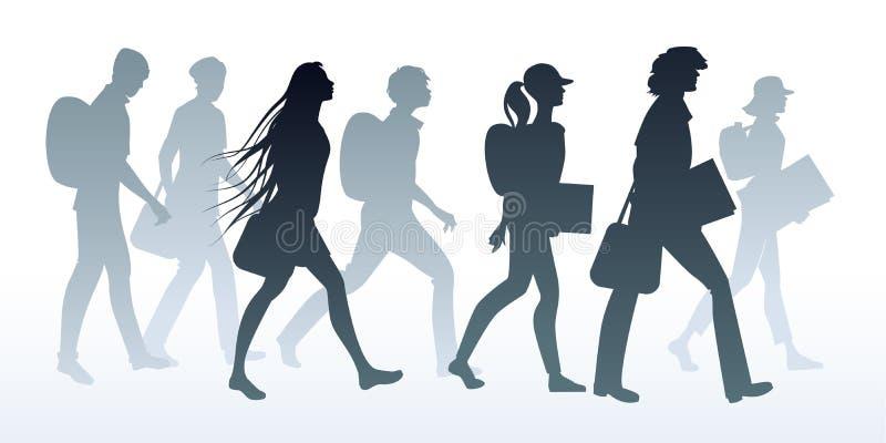Konturer av tonårs- ligastudenter som går till skolan vektor illustrationer
