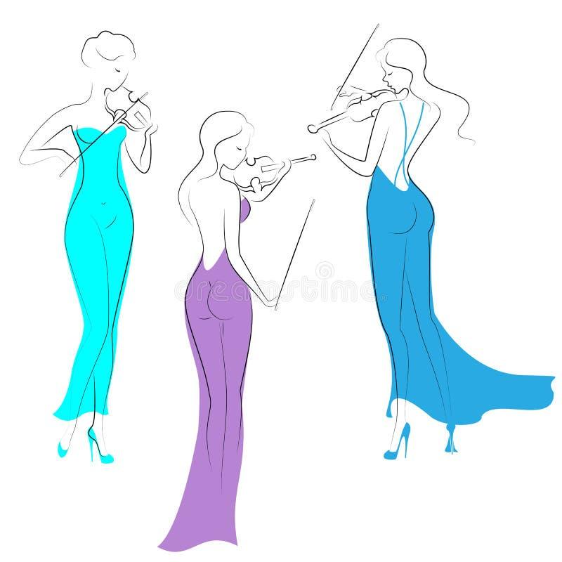 Konturer av tre h?rliga damer i l?nga kl?nningar f?r afton Flickor ?r slanka och eleganta Kvinnor spelar fioler, dem ?r musiker royaltyfri illustrationer
