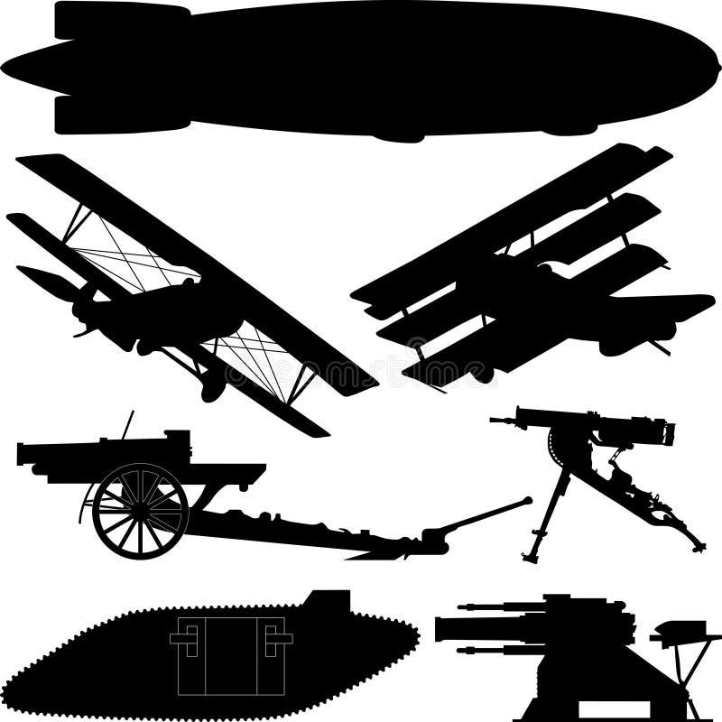 Konturer av vapen från världskrig I (storkriget) stock illustrationer