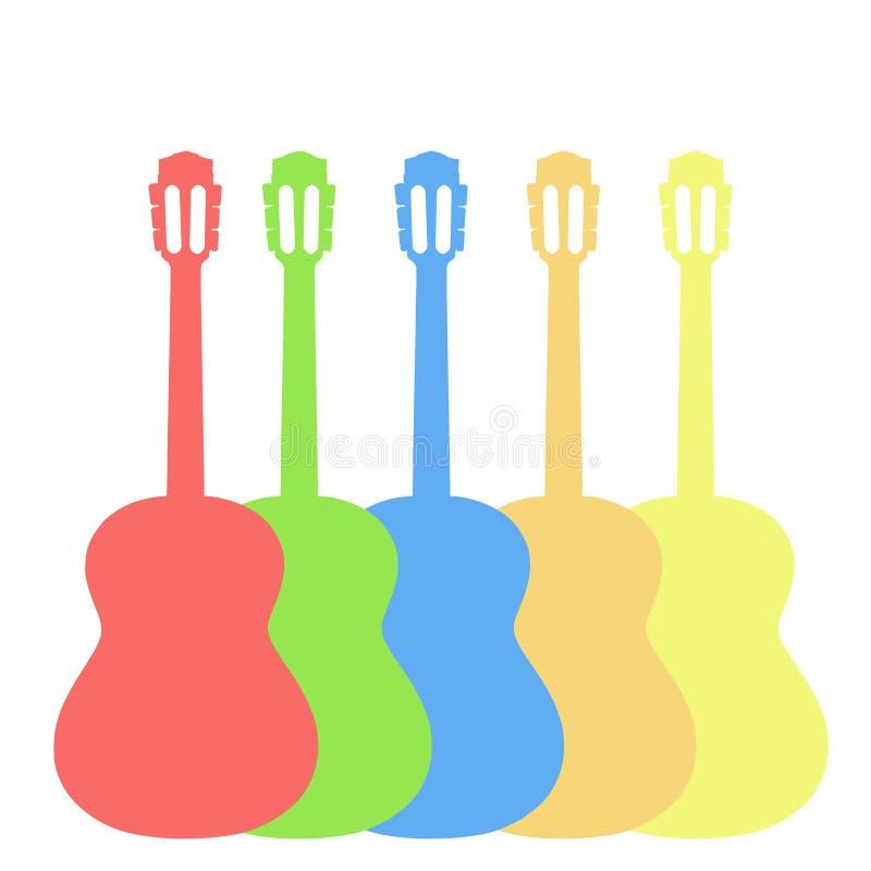 Konturer av varicoloured gitarrer på vit royaltyfri illustrationer