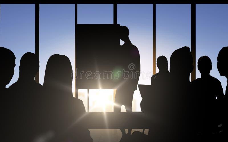 Konturer för affärsfolk på möte i regeringsställning stock illustrationer