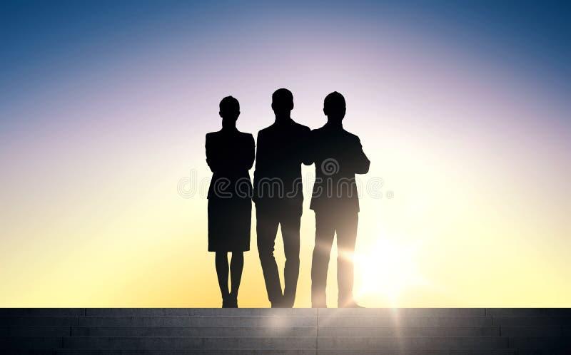Konturer för affärsfolk på trappa över solen stock illustrationer