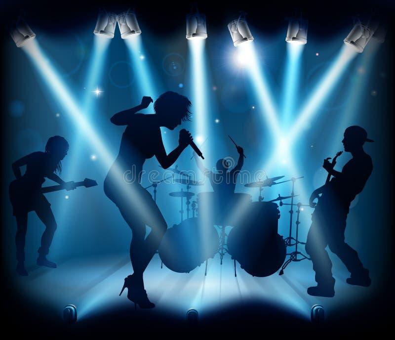 Konturer för etapp för konsert för musikbandmusik vektor illustrationer