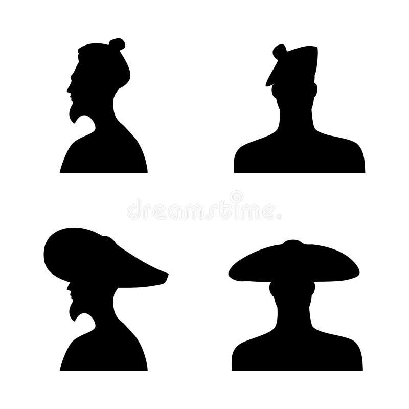 Konturer för mänskligt huvud i olika hattar Uppsättning 1 stock illustrationer