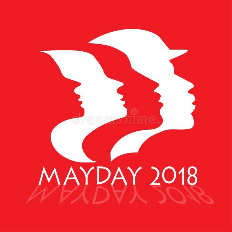 Konturer för manliga och kvinnliga arbetare för maydayen 2018 ståtar royaltyfri illustrationer