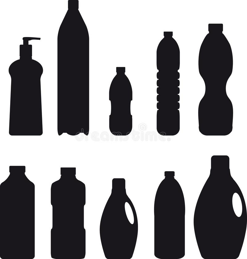Konturer för plast- behållare royaltyfri illustrationer