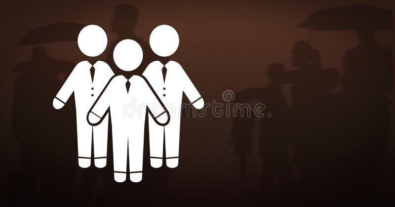 Konturer för symbol och för folk för grupp för affärsfolk stock illustrationer
