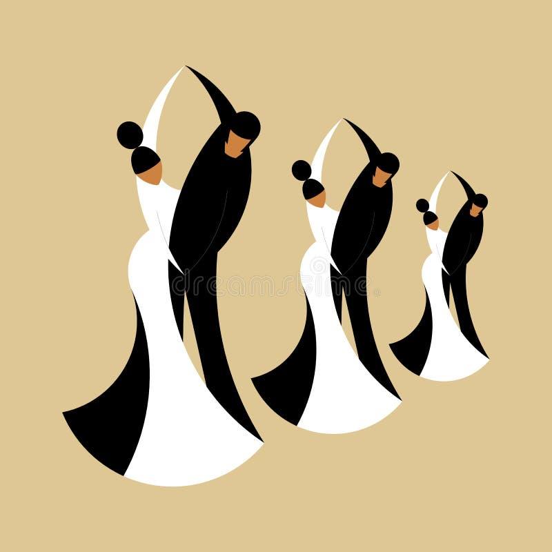 Konturer som dansar par som isoleras på en beiga arkivbild
