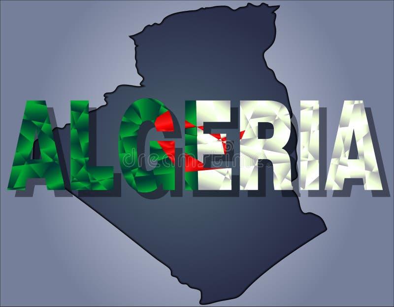 Konturerna av territoriet av det Algeriet och Algeriet ordet i färger av nationsflaggan royaltyfri illustrationer