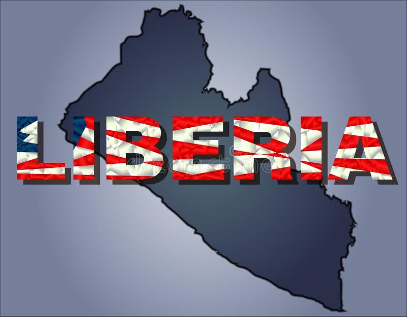 Konturerna av territoriet av det Liberia och Liberia ordet i färger av nationsflaggan royaltyfri illustrationer