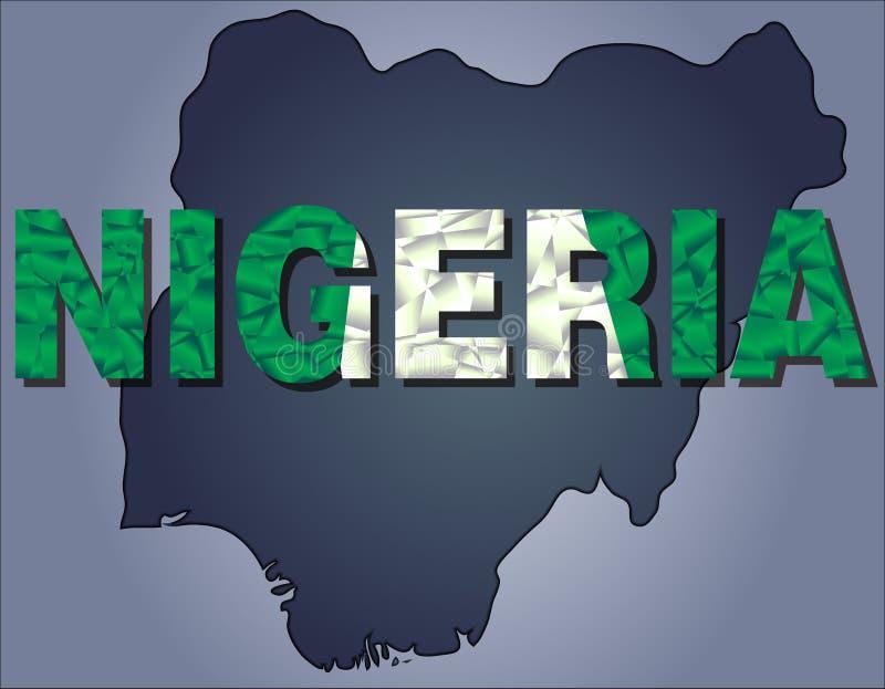 Konturerna av territoriet av det Nigeria och Nigeria ordet i färger av nationsflaggan fotografering för bildbyråer