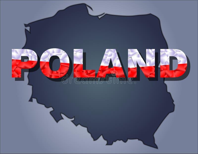 Konturerna av territoriet av det Polen och Polen ordet i färgerna av nationsflaggan arkivbild