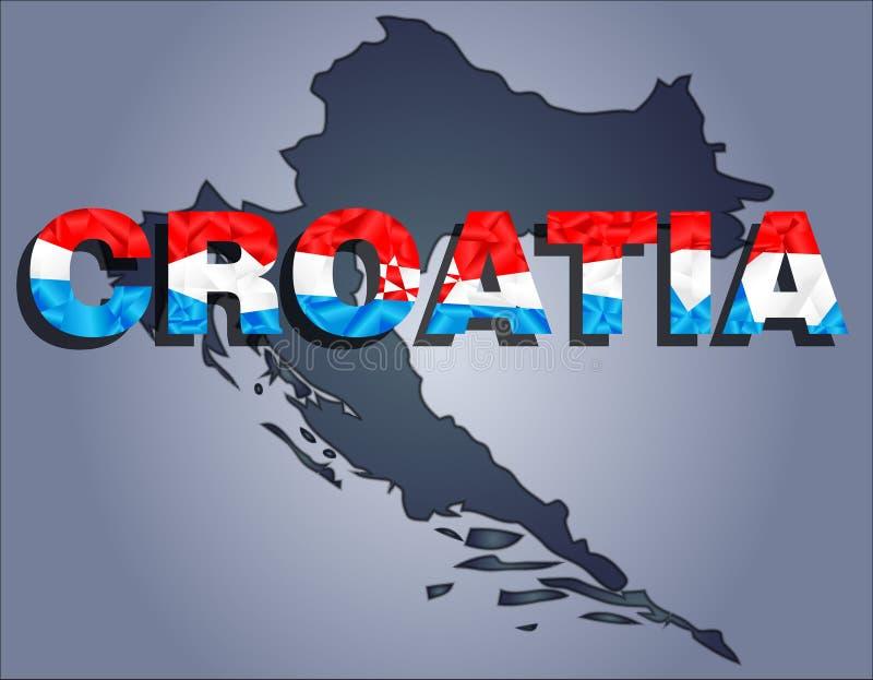Konturerna av territoriet av Kroatien- och Kroatienordet i färgerna av nationsflaggan royaltyfri illustrationer