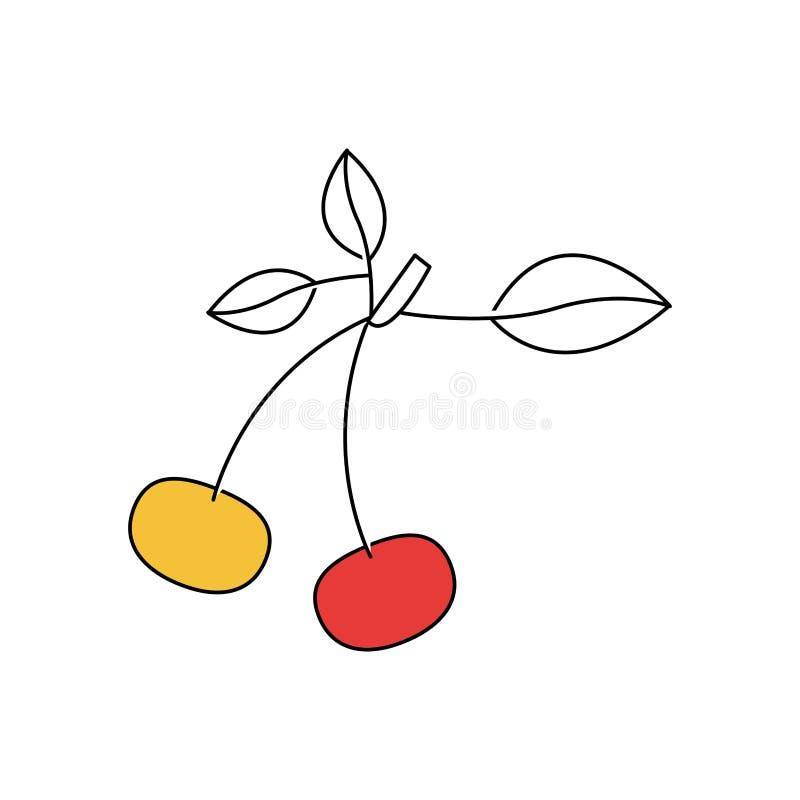 Konturfärgavsnitt av cherrys med stammen och blad vektor illustrationer