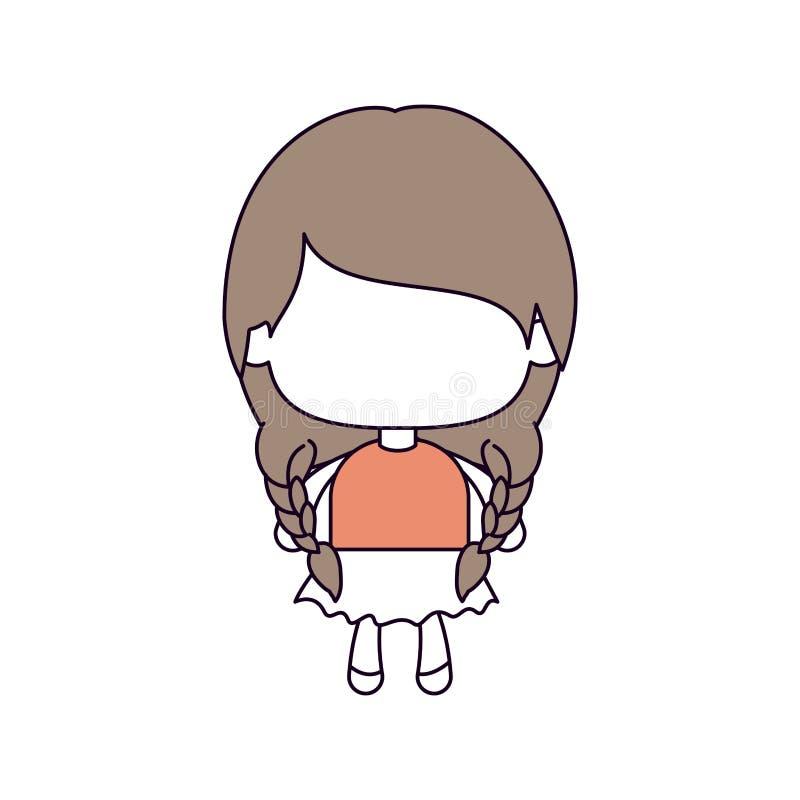 Konturfärgavsnitt av den ansiktslösa lilla flickan med råttsvanshår och som flätar i ljus - brunt stock illustrationer