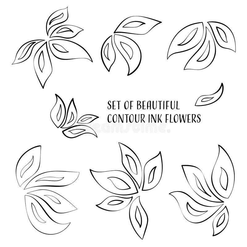 Konturfärgpulverblommor stock illustrationer