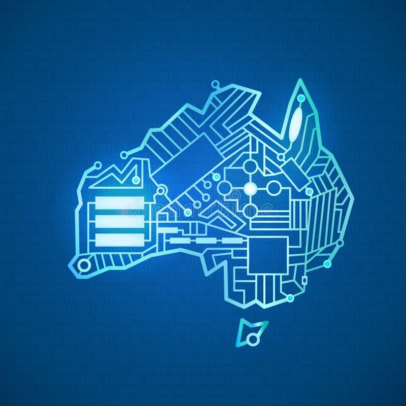 Konturfastland Australien vektor illustrationer