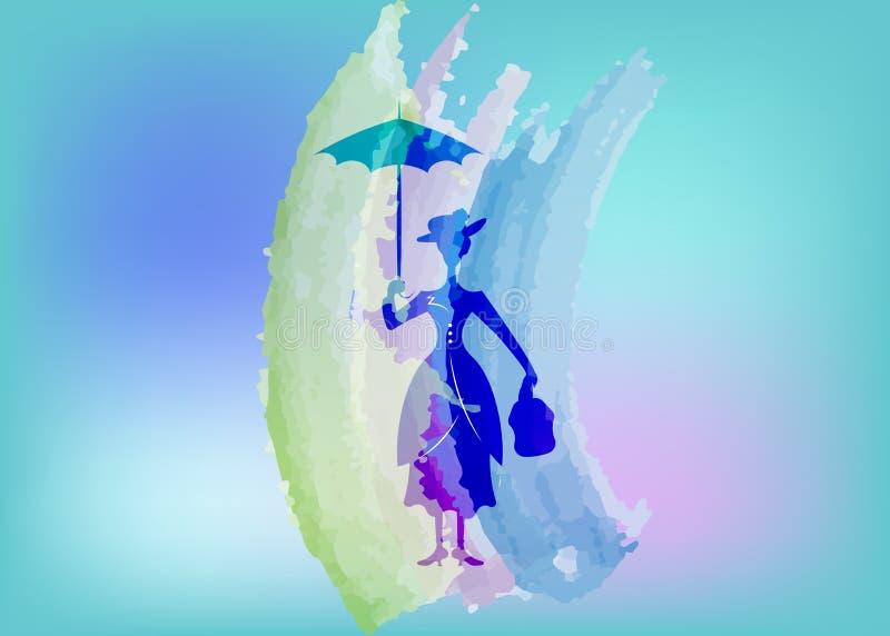 Konturflickan svävar med paraplyet i hans hand, Mary Poppins stil, den isolerade vektorn vektor illustrationer