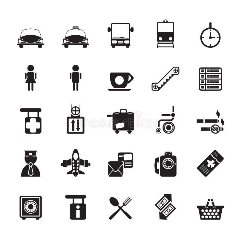 Konturflygplats-, lopp- och trans.symboler royaltyfri illustrationer