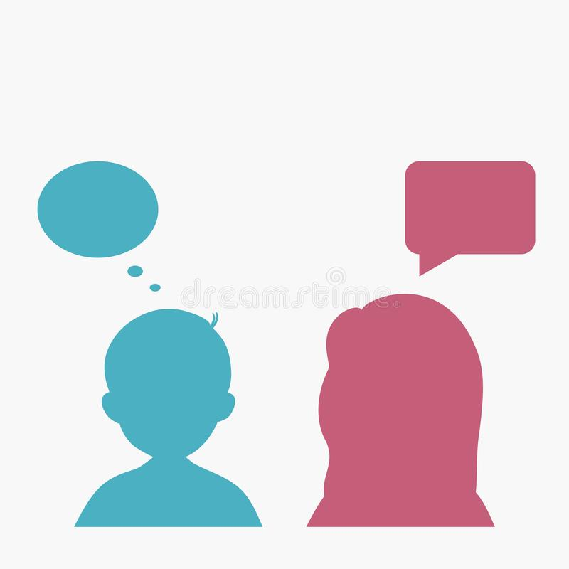 Konturfolk med anförandebubblor Man- och kvinnafunderare royaltyfri illustrationer