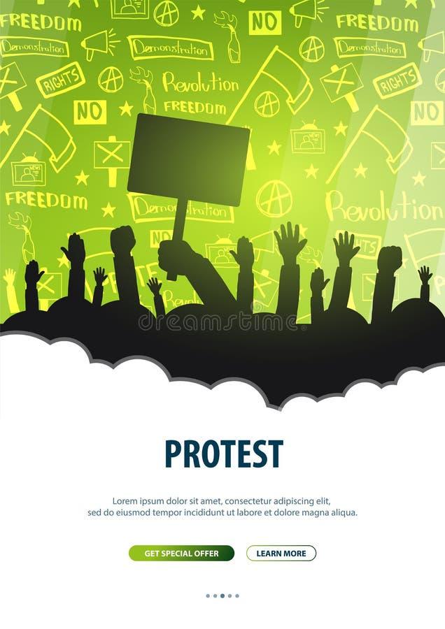 Konturfolkmassa av folk med flaggor, baner Demonstration manifestation, protest, slag, revolution Baner med hand-attraktion royaltyfri illustrationer