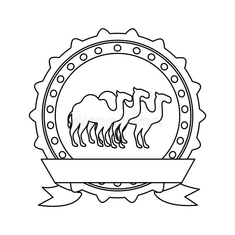 Konturgränsgradbeteckning med kamel och etiketten royaltyfri illustrationer