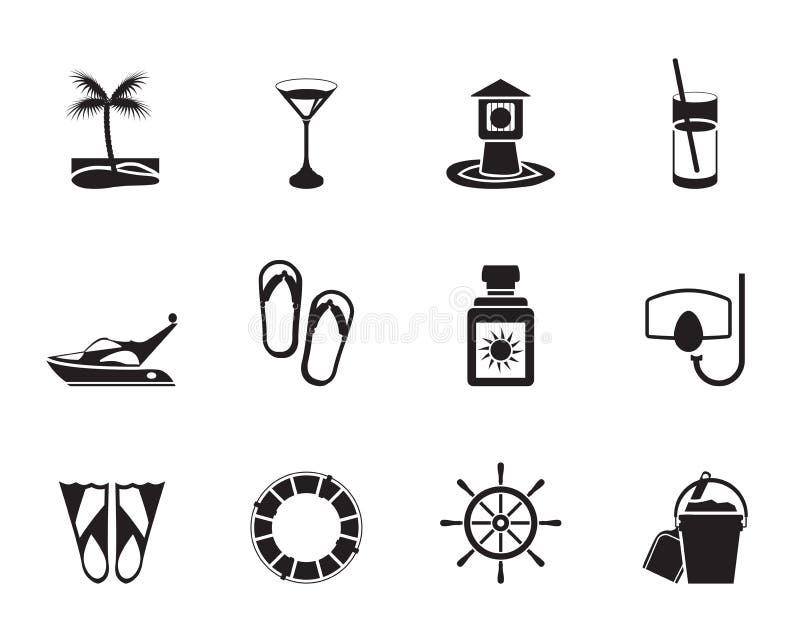 Konturhav, flotta och feriesymboler stock illustrationer