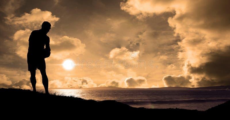 Konturidrottsman på stranden under solnedgång royaltyfri illustrationer