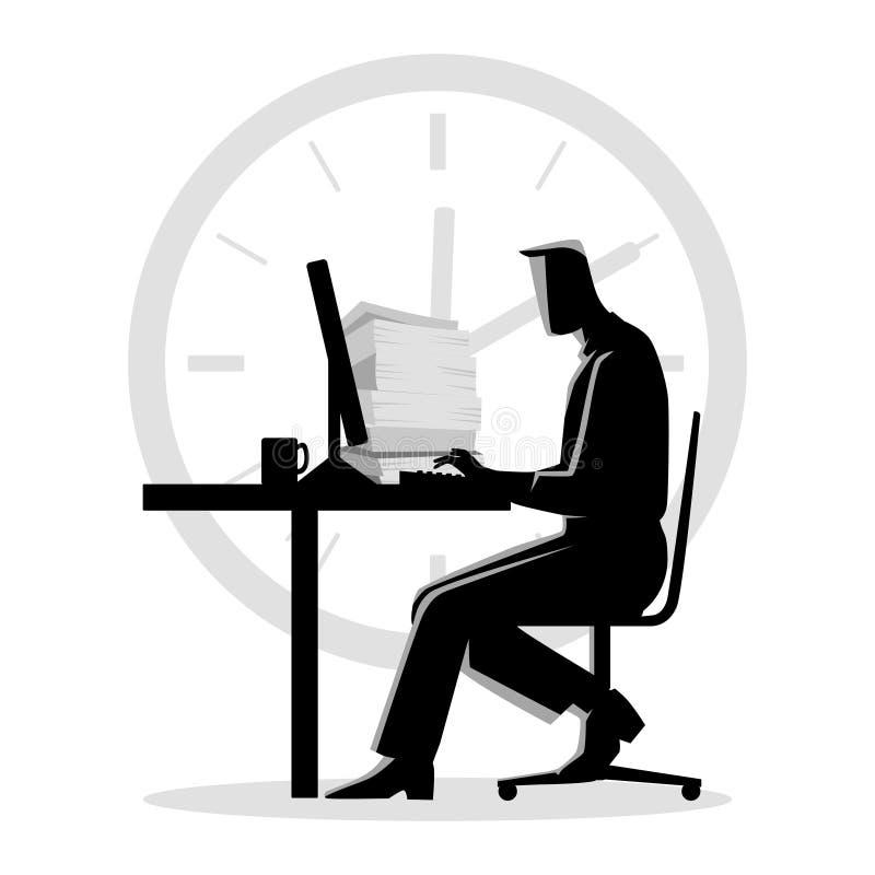 Konturillustration av en funktionsduglig övertid för man royaltyfri illustrationer