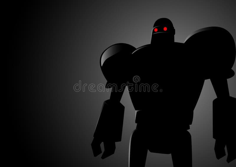 Konturillustration av en robot royaltyfri illustrationer