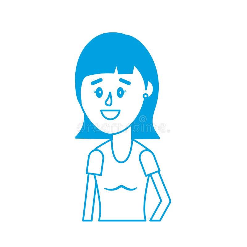 Konturkvinna med frisyr- och blusdesign vektor illustrationer