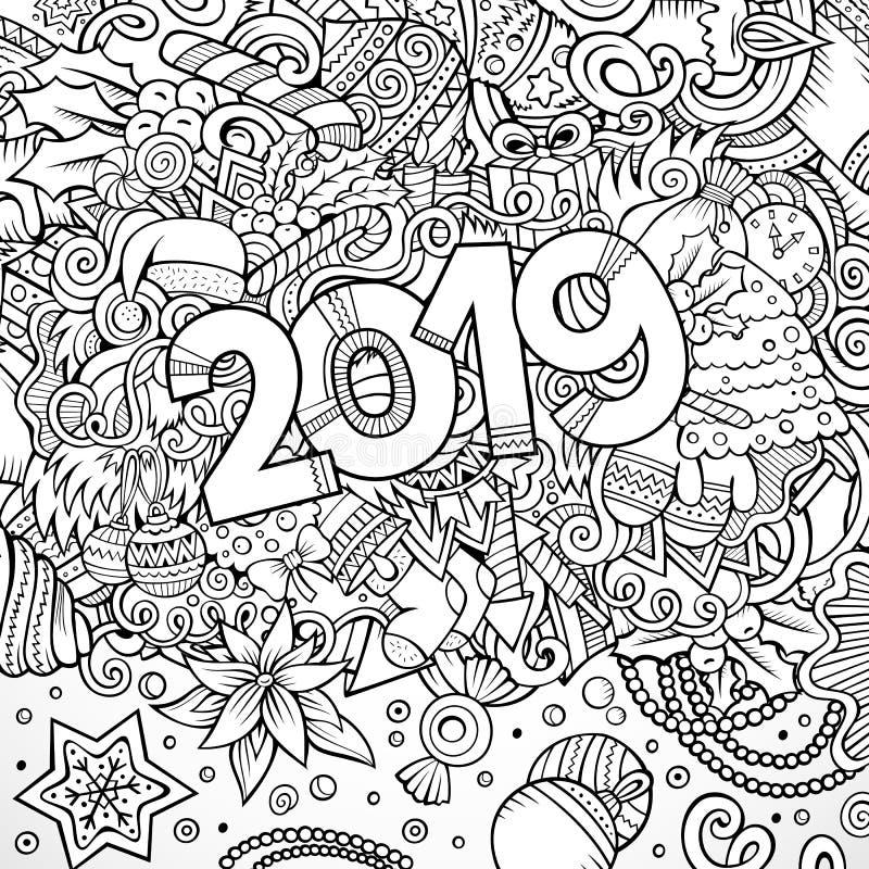 konturlinje illustration för 2019 hand dragen klotter nytt affischvektorår vektor illustrationer