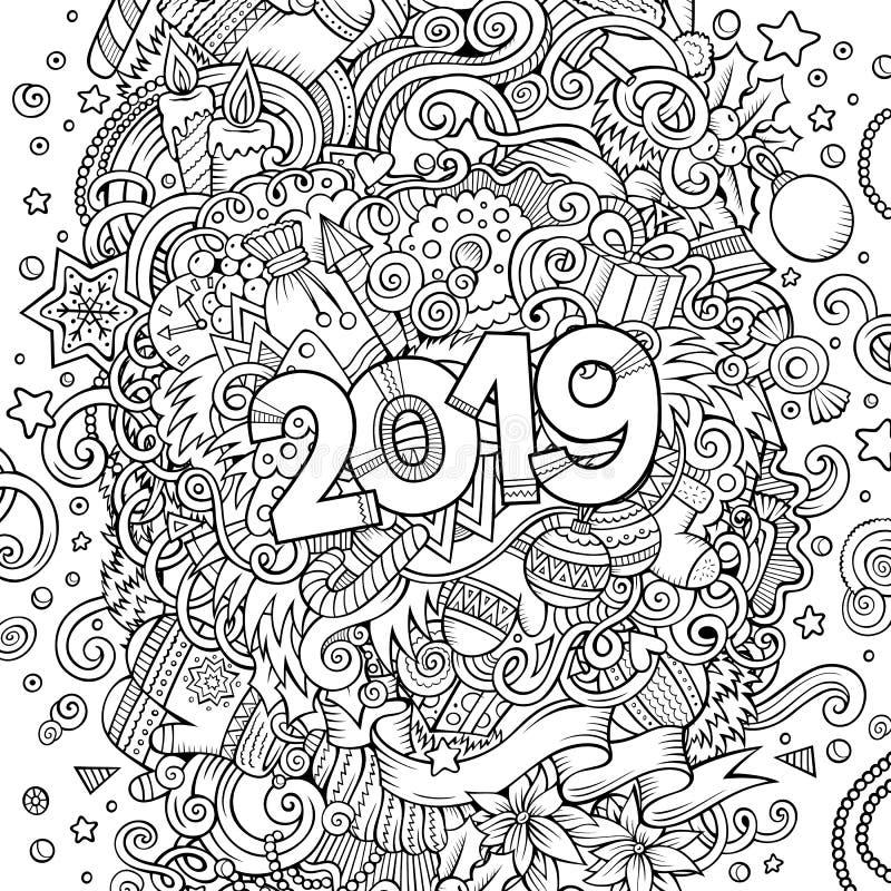 konturlinje illustration för 2019 hand dragen klotter nytt affischvektorår royaltyfri illustrationer