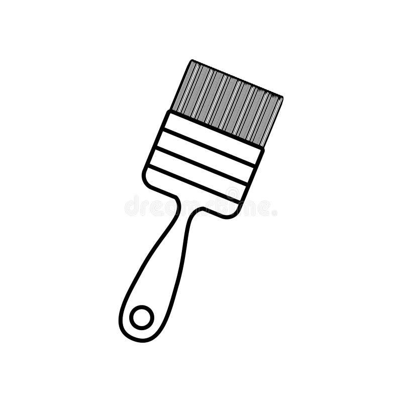 Konturlinje monokrom med målarfärg-borsten stock illustrationer