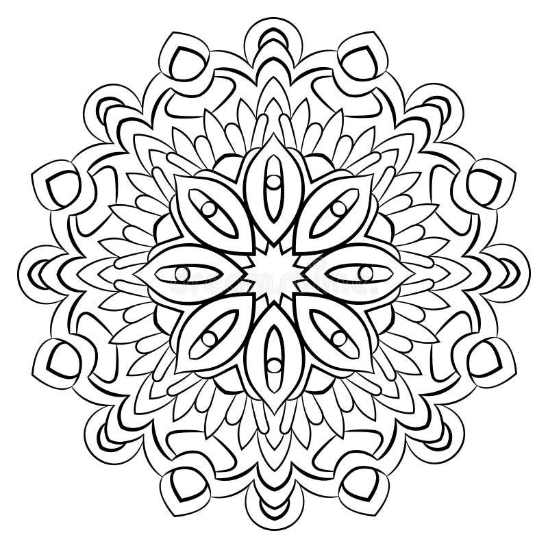 Konturmandala för färgbok Monokrom illustration Symmetrisk modell i en cirkel En härlig bild för urklippsbok Ten royaltyfri illustrationer