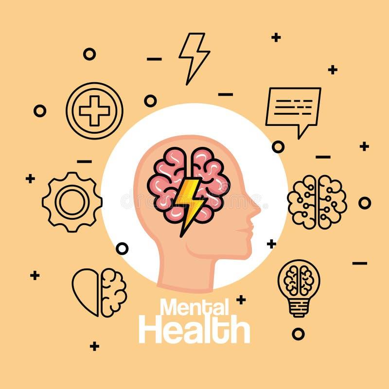Konturmanhuvud med den vård- hjärnan och åska royaltyfri illustrationer