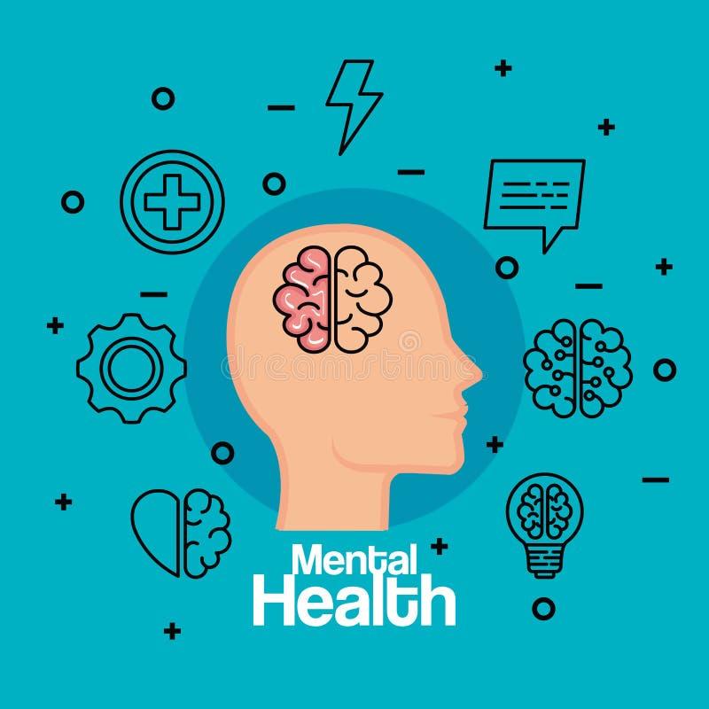 Konturmanhuvud med hjärnan till hälsa royaltyfri illustrationer
