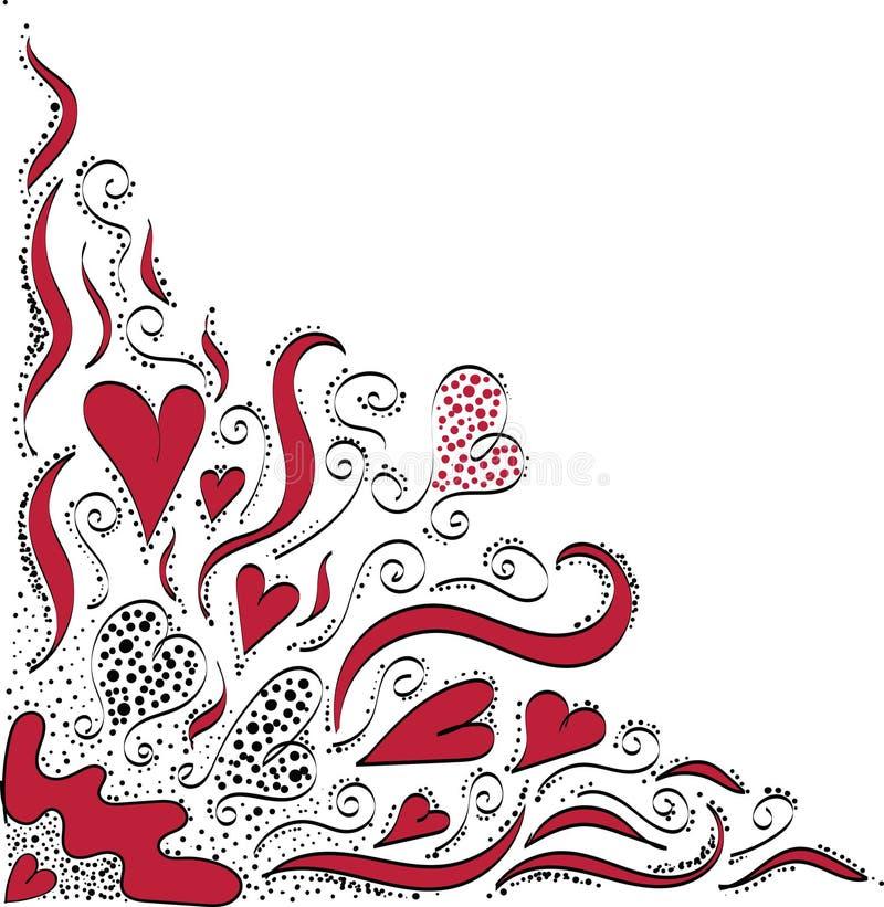 Konturmodellen av hjärtor och växter på vit bakgrund stock illustrationer