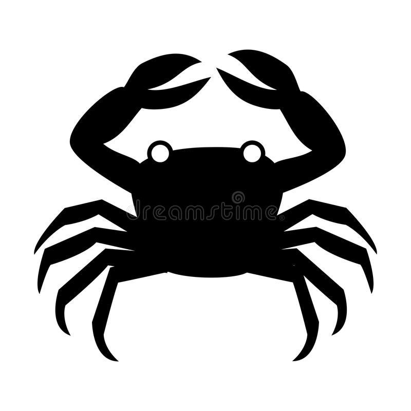 Konturmonokrom med krabban över stock illustrationer