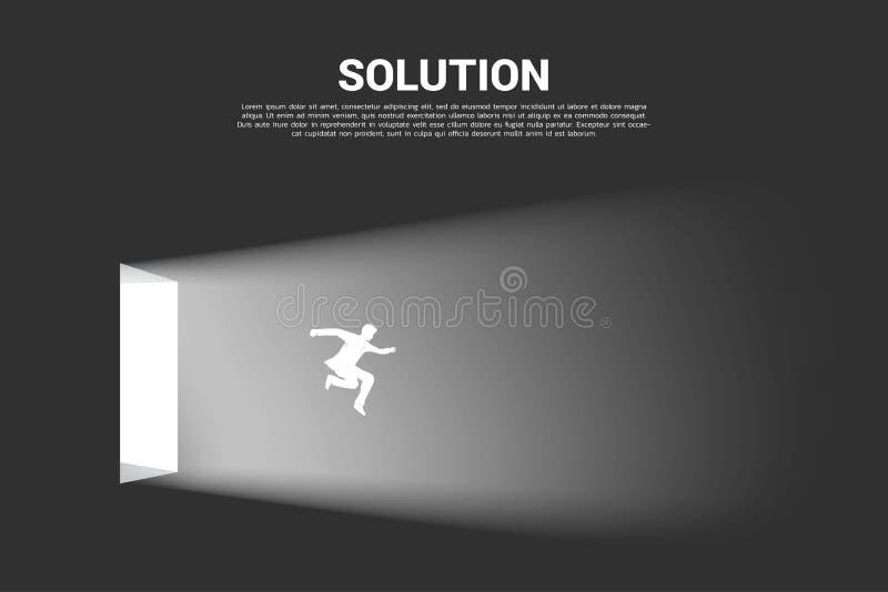 Konturn av affärsmannen hoppar ut från dörren av ljus stock illustrationer