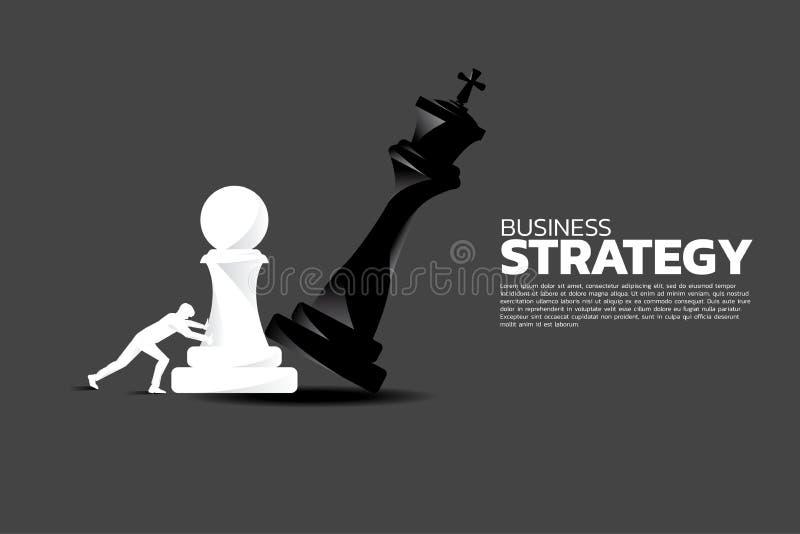 Konturn av affärsmannen skjuter pantsätter schackstycket för att göra schackmatt konungen vektor illustrationer