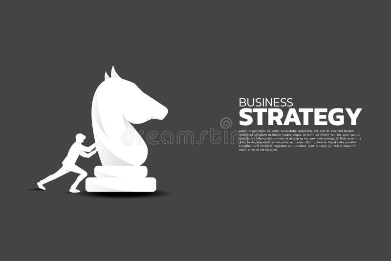 Konturn av affärsmannen skjuter riddareschackstycket royaltyfri illustrationer