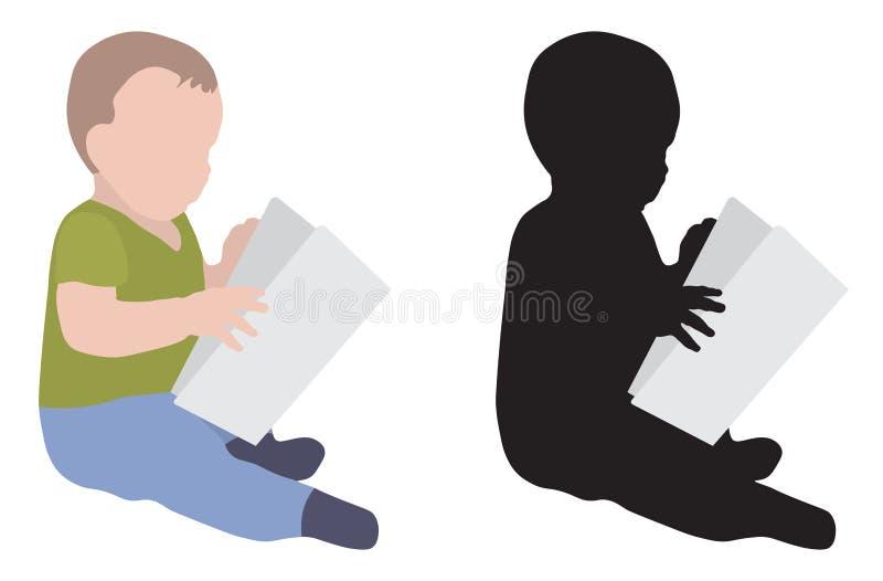 Konturn av behandla som ett barn den svart läseboken som är färgrik och, isolerat, vektorillustrationen vektor illustrationer
