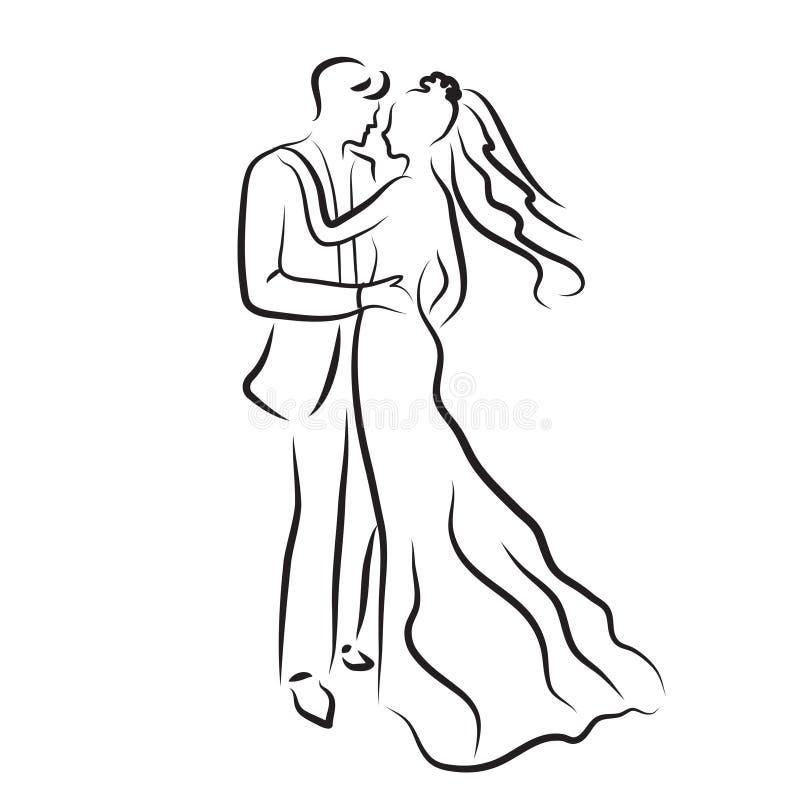 konturn av bruden och brudgummen, nygifta personer skissar, handteckningen, bröllopinbjudan, vektorillustration royaltyfri illustrationer