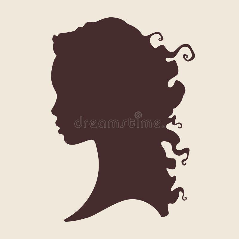Konturn av den härliga lockiga afrikanska kvinnan i profil isolerade vektorillustrationen Design för logo för skönhetsalong eller royaltyfri illustrationer