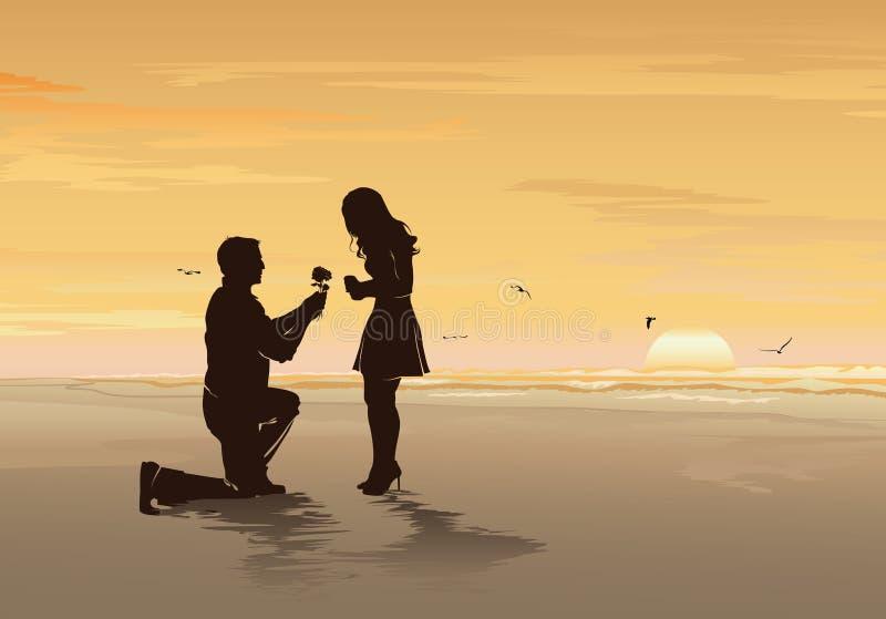 Konturn av den unga mannen med steg föreslå till hans älskling begreppet på havsstranden, det romantiska datumet, för bröllop- oc royaltyfri illustrationer