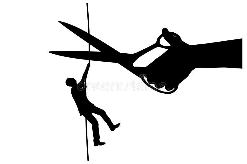 Konturn av en affärsman klättrar på en spänd lina, och en hand med sax ämnar klippa ett rep stock illustrationer