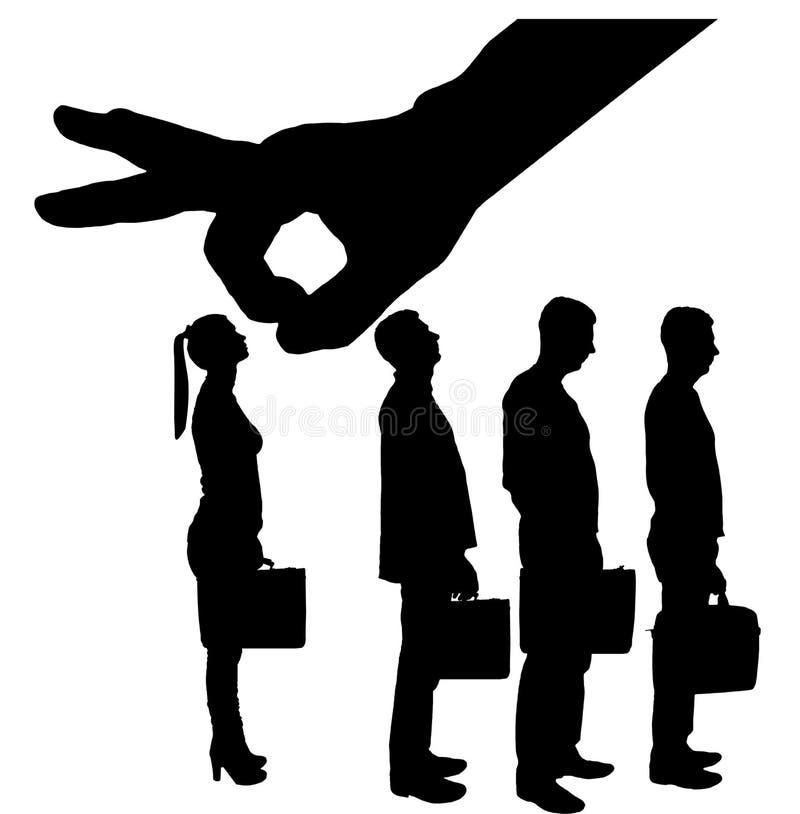 Konturn av en arbetsgivare för stor hand föredrar manliga anställda i stället för kvinnor vektor illustrationer