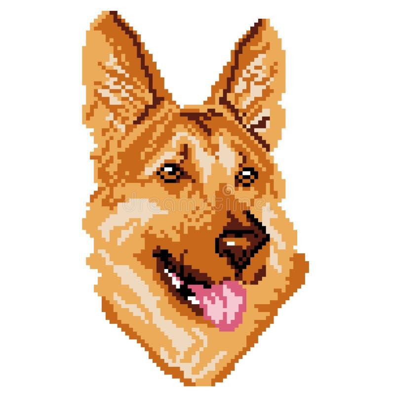 Konturn av en beige hundavel som den tyska herden är en framsida, huvudet, målas i form av fyrkanter, PIXEL royaltyfri illustrationer