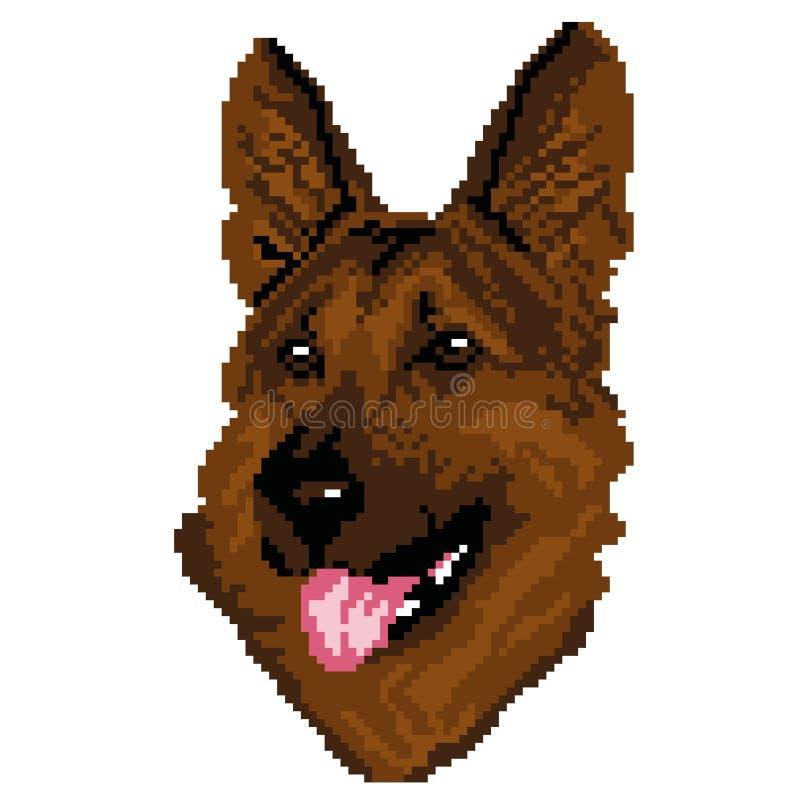 Konturn av en brunt, aveln för den tyska herden för den svarta hunden är en framsida, huvudet som dras i form av fyrkanter, PIXEL vektor illustrationer